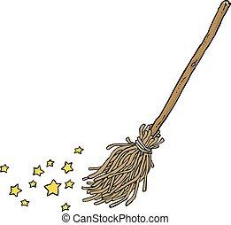 Cartoon magic broom on a white background vector...