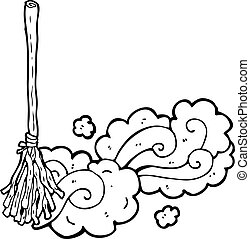 cartoon magic broom sweeping