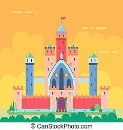 Cartoon Magic Fairytale Castle Flat Design Icon Summer Landscape Background Template Vector Illustration