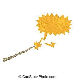 cartoon magic wand with speech bubble