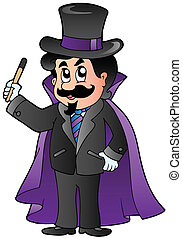 Cartoon magician on white background - vector illustration.