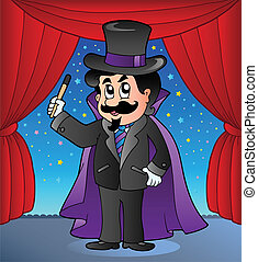 Cartoon magician on circus stage - vector illustration.