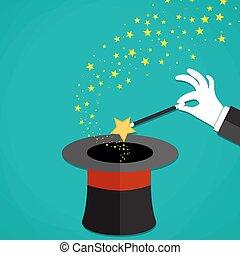 Cartoon Magicians hands holding a magic wand