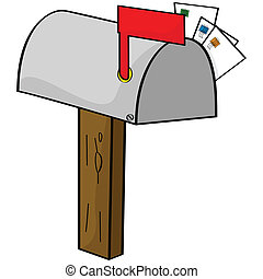 Cartoon mailbox - Cartoon illustration of an old-style...