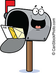 Cartoon illustration of a mailbox with a happy expression.