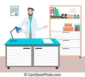 Cartoon male bearded doctor wearing white coat in medical office pointing a hand. Health protection concept. Therapist smiling man medic in medical clothes in the hospital standing at his table