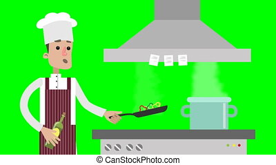 Cartoon male chef is preparing food. Frying vegetables on...