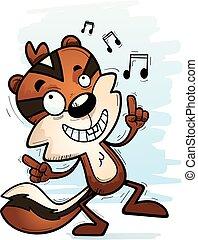 Cartoon Male Chipmunk Dancing - A cartoon illustration of a...