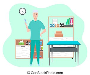 Cartoon male doctor in medical office holding a syringe with a needle. Health protection concept. Therapist man medic in medical clothes in the hospital preparing to give an injection to the patient