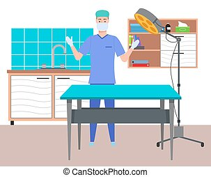 Doctor in medical office in gloves and face mask getting ready to receive a patient . Health protection concept flat design. Surgeon man medic in medical clothes in the hospital preparing to operation