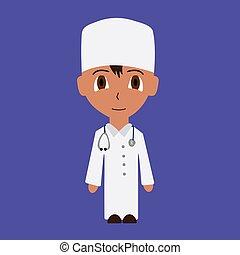 Cartoon male doctor. isolated flat vector illustration