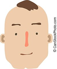 Cartoon Male face isolated on white. Vector