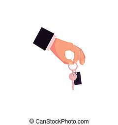 Cartoon male hand giving, holding car keys - Male hand...