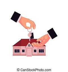 Cartoon male hands giving, taking house, home key