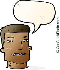 cartoon male head with speech bubble