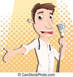 cartoon male singer