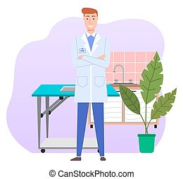 Cartoon male doctor wearing white coat in medical office standing arms crossed. Health protection concept. Therapist smiling man veterinarian medic in medical clothes in the hospital or vet clinic