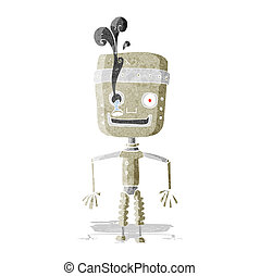 cartoon malfunctioning robot