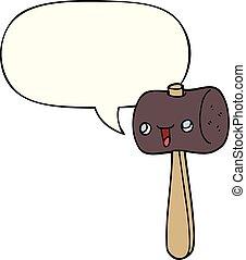 cartoon mallet and speech bubble - cartoon mallet with...