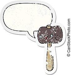 cartoon mallet and speech bubble distressed sticker -...