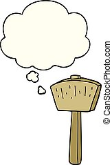 cartoon mallet and thought bubble - cartoon mallet with...