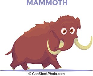 Cartoon Mammoth isolated on white background. Vector