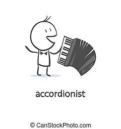 Cartoon man accordionist