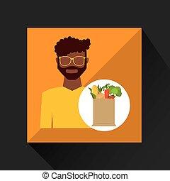 cartoon man afroamerican with shop bag healthy food vector...