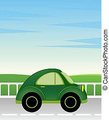 cartoon man and car