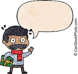 cartoon man and mustache and christmas present and speech...