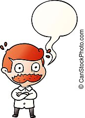 cartoon man and mustache shocked and speech bubble in smooth...