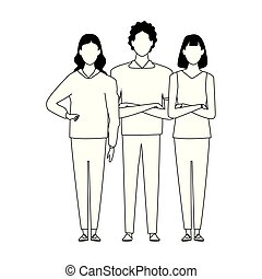 cartoon man and two women standing