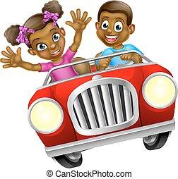 Cartoon Man and Woman Driving Car - Cartoon boy and girl...