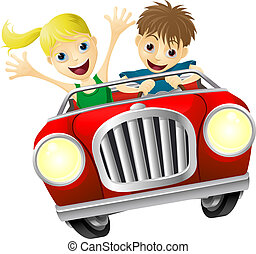 Cartoon man and woman in car - Cartoon young man and woman...