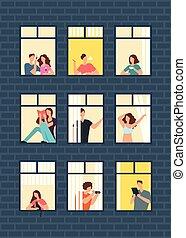 Cartoon man and woman neighbors in apartment windows in building. Happy neighborhood vector flat concept