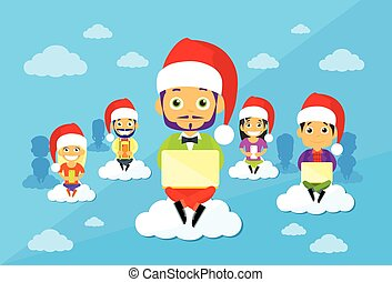 Cartoon Man and Woman New Year Christmas Santa Hat People Group Sitting on Clouds Use Digital Devices
