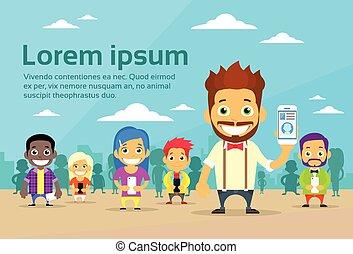 Cartoon Man and Woman People Group Use Smart Phones Internet...