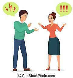 Cartoon Man and woman quarreling. Angry couple quarrel vector flat illustration.