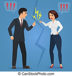 Cartoon Man and woman quarreling. Angry office people quarrel vector flat illustration.