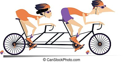 Cartoon man and woman rides a tandem bike isolated