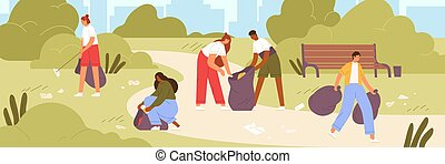 Cartoon man and woman volunteer cleaning garbage in park vector flat illustration. Colorful active people ecologists collecting rubbish together. Altruistic person clean up environment from waste