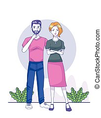 cartoon man and woman wearing casual clothes over white ...