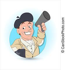 Cartoon Man Announcing