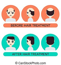 Cartoon man before and after hair treatment