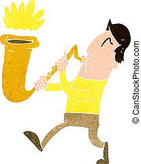 cartoon man blowing saxophone