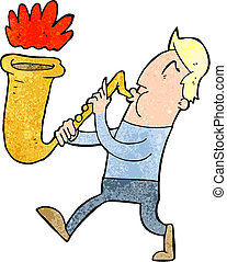 cartoon man blowing saxophone