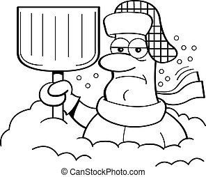 Cartoon man buried in snow. - Black and white illustration...