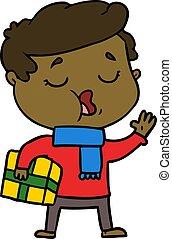 cartoon man carol singing