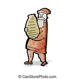 cartoon man carrying clay pot