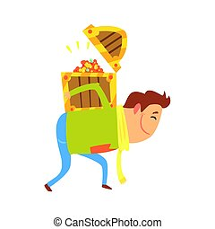 Cartoon man carrying the treasure chest on his back. Colorful character vector Illustration